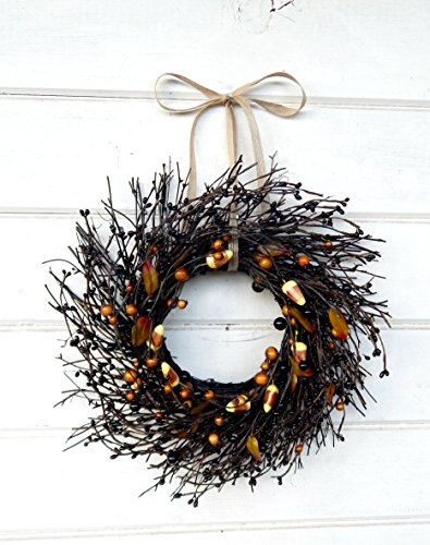 Mini Wreath-Halloween Wreath-Fall Wreath-Window Wreath-Black Candy Corn Wreath-Twig Wreath- Wreath, Farmhouse Decor, Fall Decor, Door Wreath, Housewarming Gift, Small Wreath, Wreaths]()