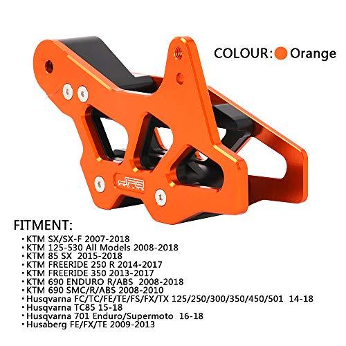 (CNC Orange Motocross Chain Guide Guard Protection For 125-530 All Models 85 SX FREERIDE 250 R Husqvarna 701 Enduro TC85 JIUNENG)