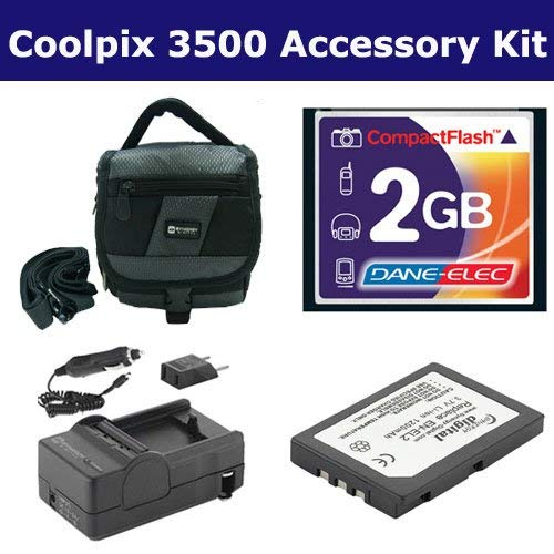 (Nikon Coolpix 3500 Digital Camera Accessory Kit includes: T44654 Memory Card, SDM-134 Charger, SDC-27 Case, SDENEL2 Battery)