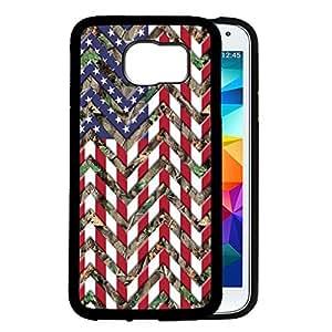 Camo Oak Trees Back U.S.A. Flag Chevron Pattern Red White & Blue Samsung GALAXY S6 (SM-G920) Rubber TPU Silicone Phone Case