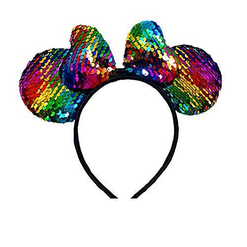 WLFY Mickey Mouse Minnie Mouse Sequin Ears Headbands Butterfly Glitter Hairband (Shiny Mickey)