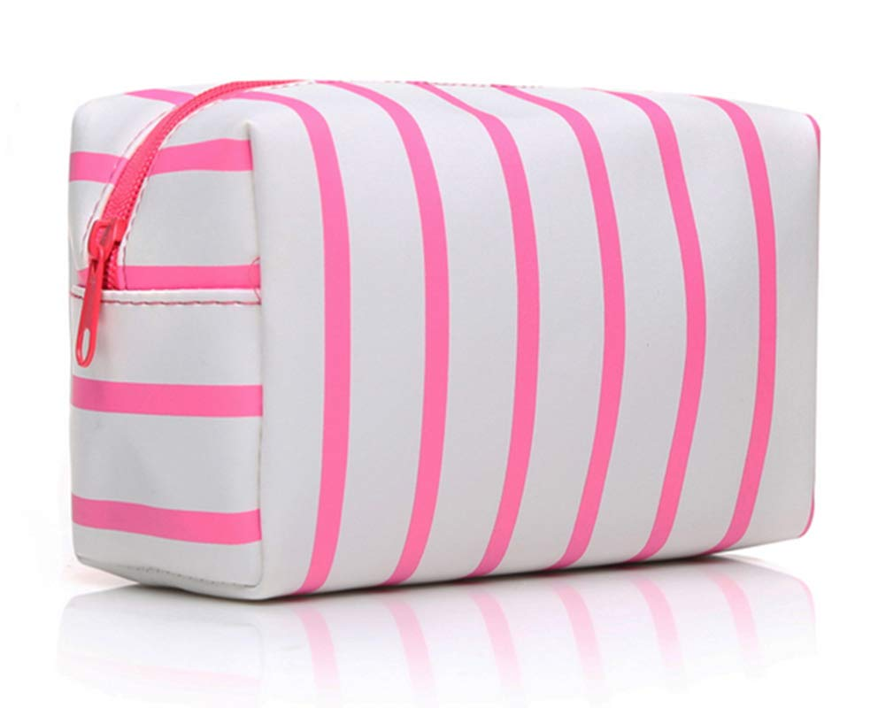 FFe Atur Makeup Bag,Small Travel Wash Bag for Women,Waterproof Cosmetics Pouches Striped, Green Chevron
