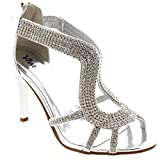 Womens Bridal Dress Open Toe Metallic Wedding Prom Party Silver Pumps - Silver - 7 - 38 - CD0154A