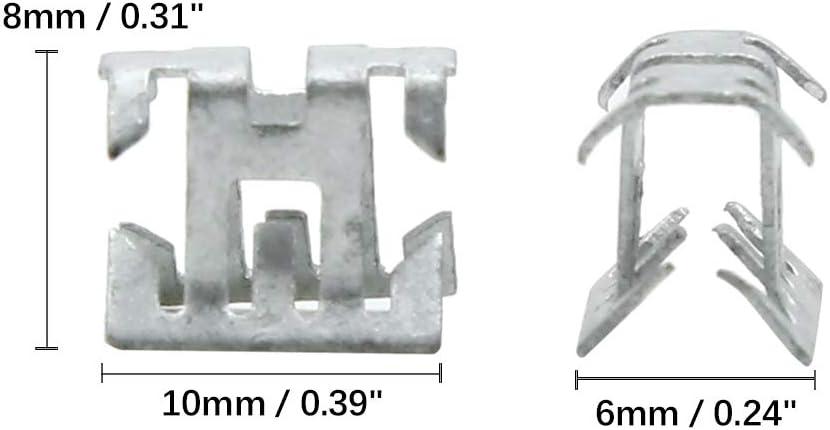 X AUTOHAUX Car Dashboard Retainer Console Panel Metal Clips 10 x 8mm 10pcs