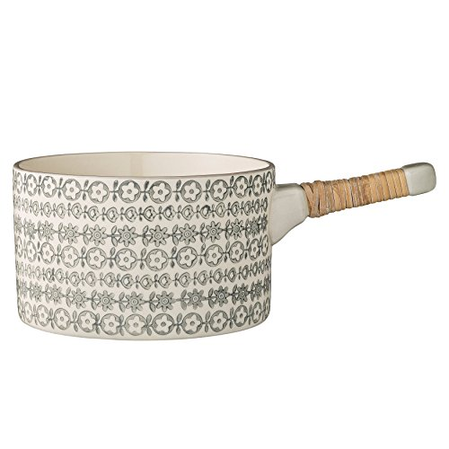 Bloomingville Ceramic Karine Serving Pot with Bamboo Wrapped Handle, Multicolor (Tureen Multi Color)