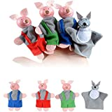 US Fast Shipment  4Pcs Finger Puppets|Three Little Pigs and Wolf Finger Puppets Hand Puppets|for Baby Kid s Christmas Gifts (Random)