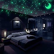 Realistic 3D Domed Glow in The Dark Stars, 572 Dots in 3 Sizes and A Moon for Ceiling Or Walls, Glow Brighter