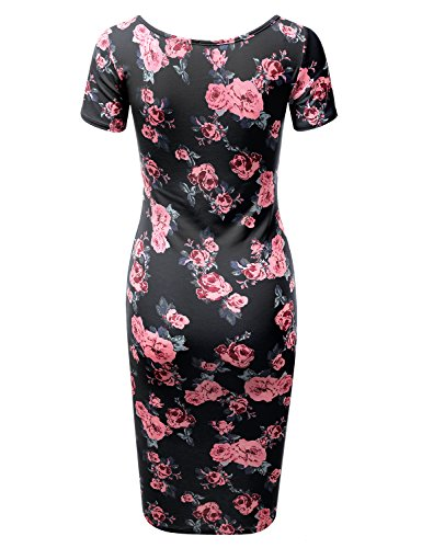 Doublju Short in Fitted rosenavy Solid Bodycon Midi USA Awdmd0227 amp; Made Dress Women Size Printed Plus Sleeve rOqdaO