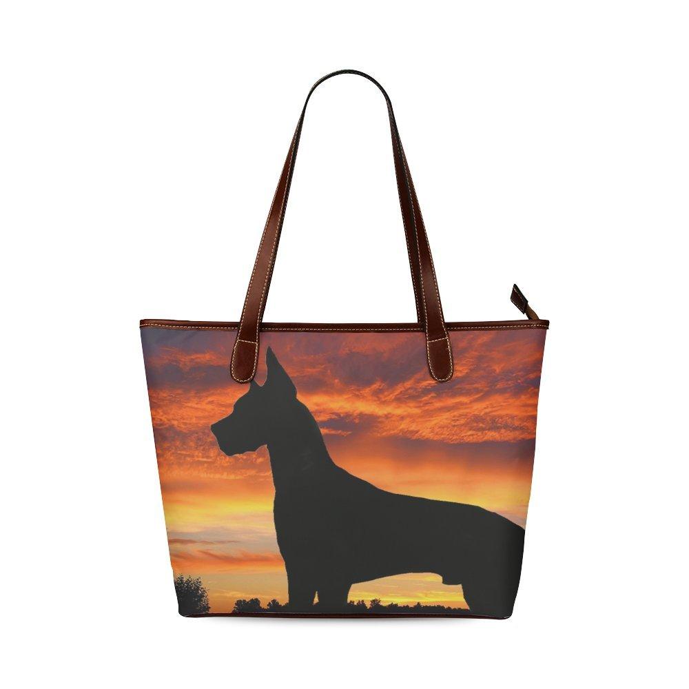 Fashion Bag Custom Black Dog In Sunset Shoulder Tote Bag