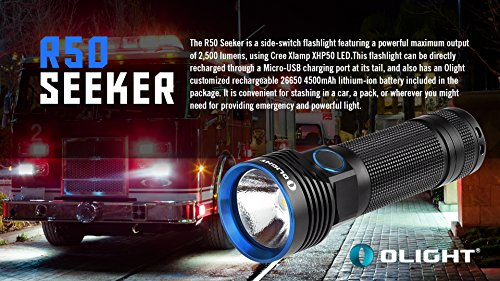 Bundle: Olight R50 Seeker Cree XLamp XHP50 LED 2500 Lumens Rechargeable Flashlight With Rechargeable 26650 4500mAh Battery+Skyben Holster and USB Light by Olight (Image #3)