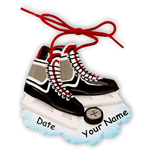 Hockey Pucks Personalized (Personalized Ice Hockey Team Player Skates with Hockey Puck and Boot Laces Hanging Christmas Ornament with Custom Name and Date (Optional) - 4 Inches)