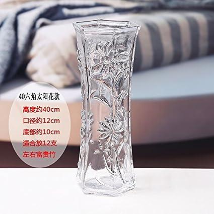 BGSV Florero de cristal soplado artificial 6 esquina moderno simple botella transparente decorado florero,Siete