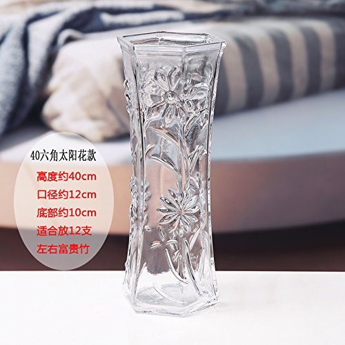 BGSV Florero de cristal soplado artificial 6 esquina moderno simple botella transparente decorado florero,Siete: Amazon.es: Hogar