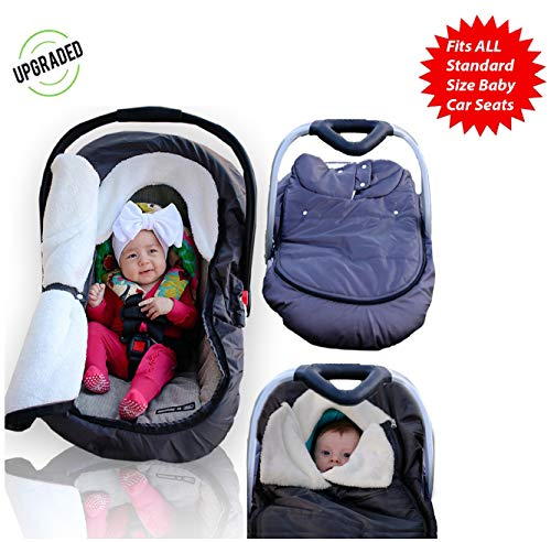 Infant Baby Car Seat Cover - Weatherproof Sneak A Peek Stroller Cover for Cold Winter Weather - Amazingly Comfy Car Seat Cover with A Universal Fit
