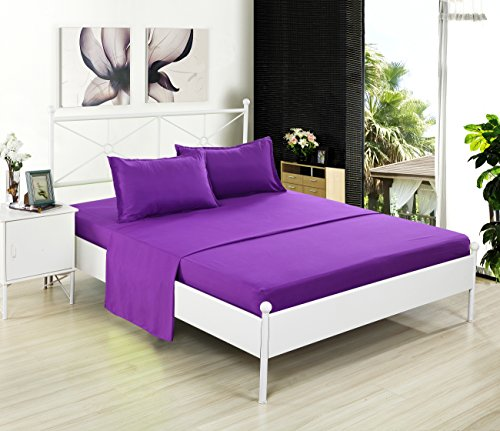 Clearance, Kuality Brushed Microfiber Bedding 3PC, Wrinkle,Stain & Fade Resistant Easy Care Soft Solid Color Bed Sheet Set(1 (Dark Purple Duvet)