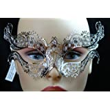 Beautiful Silver Metal laser Cut Venetian Masquerade Mask with Diamonds by Masquerade Masks