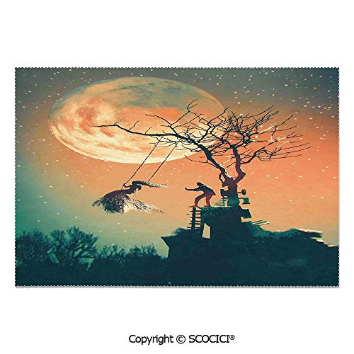 SCOCICI Set of 6 Durable Polyester Place Mats Heat Resistant Table Mats Spooky Night Zombie Bride and Groom Lady on Swing Under Starry Sky Full Moon for Party Kitchen Dining Table]()