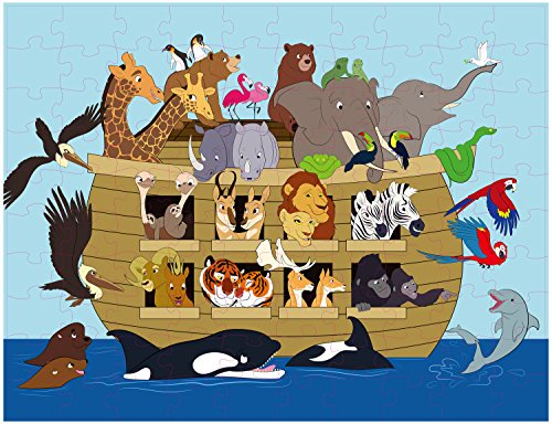Floor Puzzles for Kids - 100-Piece Giant Floor Puzzle, Noah's Ark Jumbo Jigsaw Puzzles for Toddlers Preschool, Toy Puzzles for Kids Ages 3-5, Great for a Christmas, Secret Santa Gift, 2 x 3 Feet