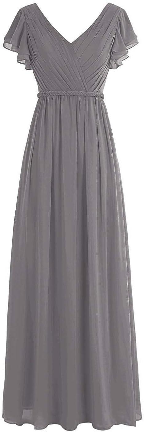 AINNIE Women Pleated Long Bridesmaid Dresses Chiffon V Neck Cap Sleeves HZ16