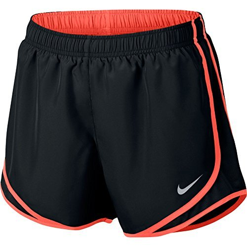 Nike Womens Dri-Fit Tempo Running Shorts Black/Max Orange/Wolf Grey 831558-016 Size X-Small