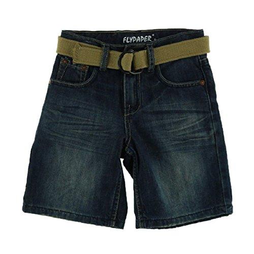 Belted Embossed Jeans (Flypaper Jeans Boys 8-20 Regular Belted Denim Short (7, Dark)