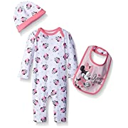 Disney Baby Girls' Minnie Mouse Coverall, Hat, and Bib Set, White/Pink, 0-3 Months