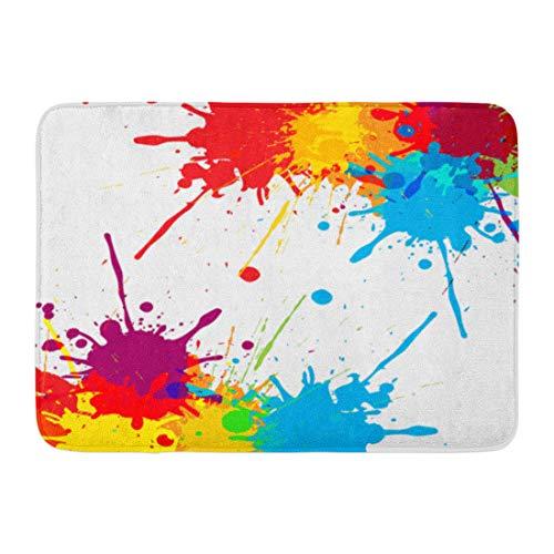 Emvency Doormats Bath Rugs Outdoor/Indoor Door Mat Blue Splash Splatter Color Red Paint Brush Splat White Rainbow Bathroom Decor Rug Bath Mat 16