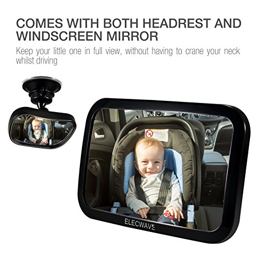 Review Baby Backseat Mirror For Car, Elecwave Largest, Safest and Most Stable Rear View Baby Car Seat Mirror – Fully Assembled, Adjustable and Wide Convex Shatterproof Glass Plus Free Small Mirror