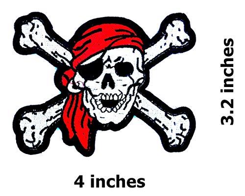 - Red Bandana Pirates Skull Cross Bone Caribbean Skull Ghost Lady Rider Biker Hippie Patch Bike Iron On/Sew On Patch