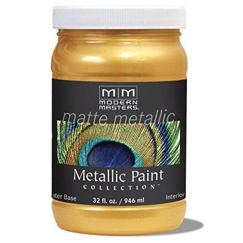 Modern Masters MM658 Matte Metallic Paint, Gold Rush, Quart by Modern Masters