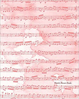 Blank Music Book Pink Watercolor Blank Sheet Music Notebook