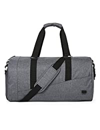 BAGSMART Large Duffle Bag Foldable Travel Bag Weekend Overnight Bag Carry-on Bag with Separate Shoe Compartment 40L, Gray