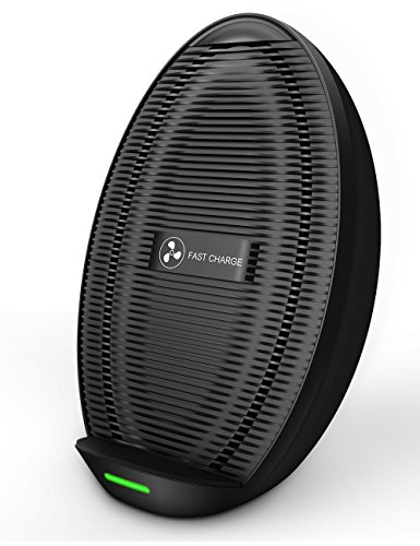 Seneo iPhone X Wireless Charger, UPGRADED Fast Wireless Charger Pad with Fan, Type-C Port for Galaxy Note 8 S8 S8 Plus S7 S7 Edge S6 Edge Plus Note 5, Standard Qi Charging Pad for iPhone X 8 8 Plus