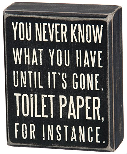 Primitives by Kathy Box Sign, 4-Inch by 5-Inch, Toilet Paper Bathroom Home Decor