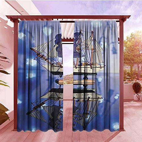 Black Magic Sails - Outdoor Blackout Curtain Ocean Decor Sail Boat on Blue Magic Neon Flashlights Mirror Reflection Alluring Yacht Hang with Rod Pocket/Clips W120x84L Polyester Blue Beige Khaki and Navy