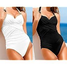 Gorgeous Ruched Beachwear White/Black One-Piece Swimsuit (White, M=US 4-6)