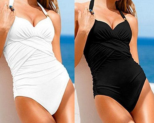 Gorgeous Ruched Beachwear White/Black One-Piece Swimsuit (White, M=US 4-6)