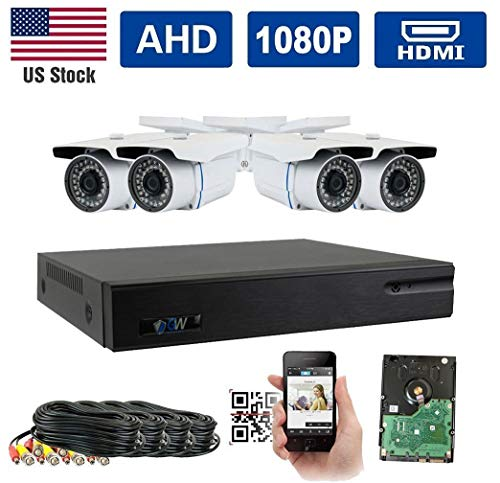 GW Security 8 Channel 1080P 5-In-1 DVR Video Surveillance Camera System 4 1080P 2.1 Megapixel Outdoor 34 IR LEDs 100ft Weatherproof Night Vision Bullet Security Camera Review