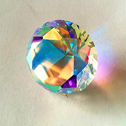 ZAMTAC 100pcs/lot Colourful k9 Crystal Glass Clear AB Diamond Paperweight Dia 30mm Round Faceted Wedding Party Decoration & Gifts - (Size: 30x30mm)