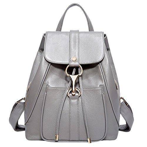 BOYATU Leather Backpack School Shoulder Bag Large Capacity Travel Bag for Women (Grey)