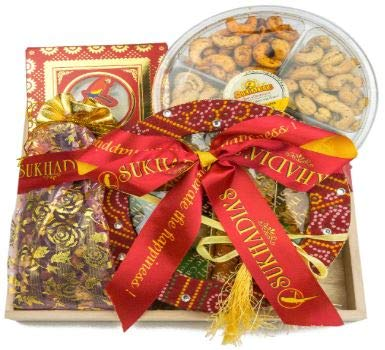 - Sukhadia's Diwali Indian Gifts- Traditional Basket Filled with Sweets & Snacks, Premium Indian Mithai, Masala Nuts