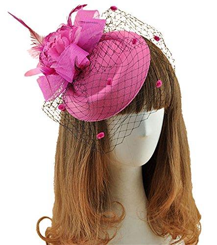 fascinator-hats-pillbox-hat-british-bowler-hat-feather-flower-veil-wedding-hat-rose-red-