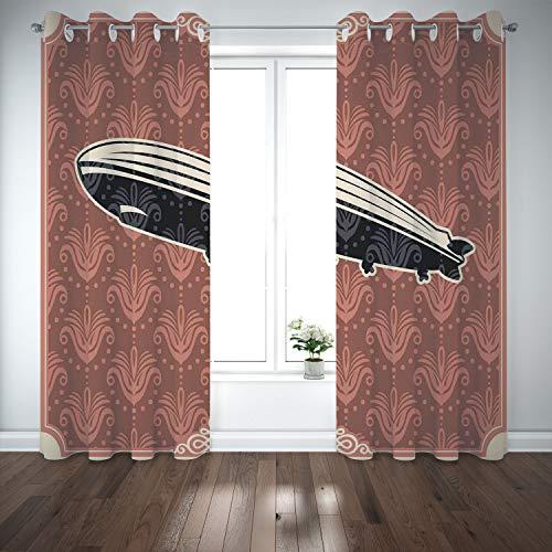 SCOCICI Grommet Blackout Window Curtains Drapes [ Retro