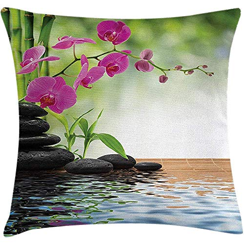 low Cover Spa Cushion, Composition Bamboo Tree Floor Mat Orchid Stones Wellness Greenery, Decorative Square Accent Case, 18 X 18 Inches, Fuchsia Charcoal Grey Lime Green ()