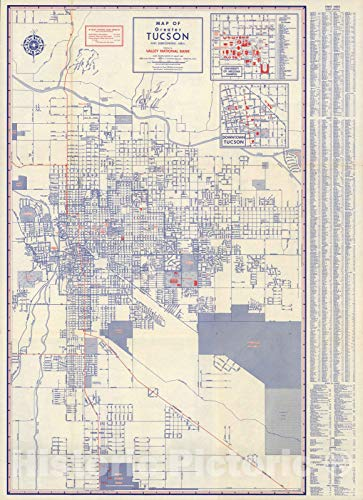 Historic Map - Map of greater Tucson and surrounding area, 1950 - Vintage Wall Art - 44in x 61in