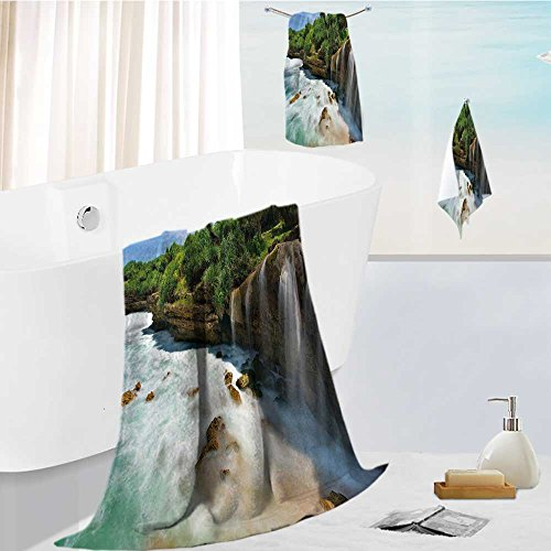 Miki Da Home Premium Bath Towel Set Jogan View in Java Indonesia Tropical Seashore Scenery Green White and Brown Soft, Highly Absorbent, 19.7''x19.7''-13.8''x27.6''-31.5''x63'' by Miki Da
