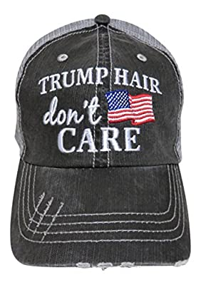 Embroidered Trump Hair Don't Care Distressed Look Grey Trucker Cap Hat USA