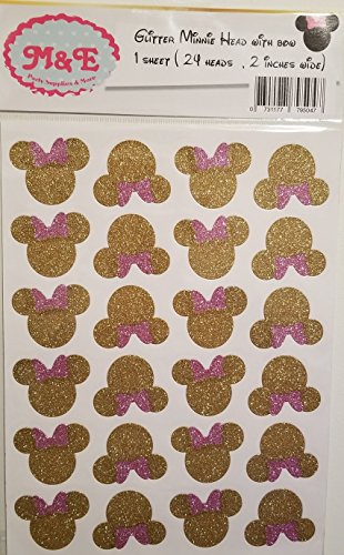 Glitter Gold & Pink Minnie Head and Bow Stickers for Minnie Mouse Birthday Party Decoration, Mickey Or Minnie (1 Sheet)(Total 24 Heads 2 inches Wide Each), Minnie Birthday, (Minnie Head) -