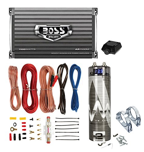 Boss AR2400.4 2400W 4-Ch Car Amplifier + Remote + 2.0 Farad Capacitor + Amp Kit