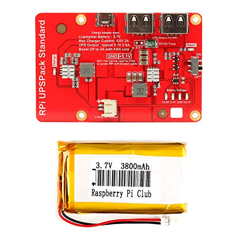 MakerFocus Raspberry Pi Battery Pack,(Raspberry Pi Battery, USB Battery Pack Raspberry Pi,) Expansion Board Power Supply with Switch for Cellphone and Raspberry Pi 3 Model B B+ and Pi 2B B+ by MakerFocus